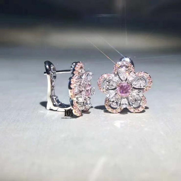双层水滴花瓣钻石耳环