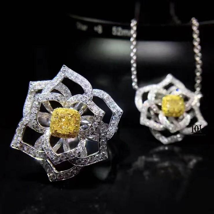 【DD轻奢珠宝】山茶花黄钻套装带给你不一样的夏天